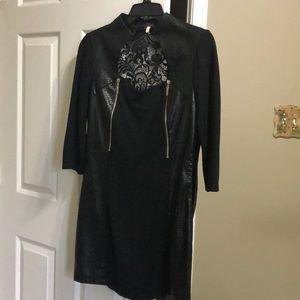 Long sleeve lace back pleather panel dress